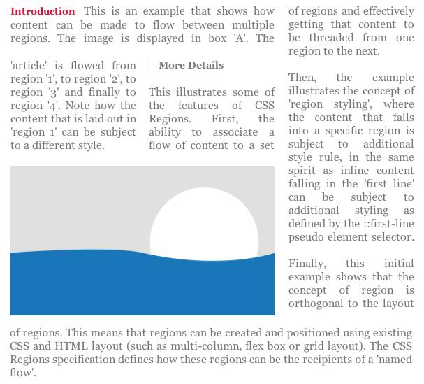 CSS Regionsのイメージ。テキストが違う領域に流れ込んでいる。
